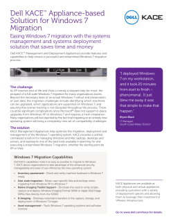 Dell KACE Appliance-based Solution for Windows 7 Migration