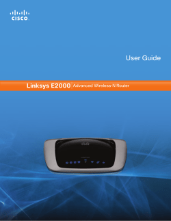 User Guide Linksys E2000 Advanced Wireless-N Router