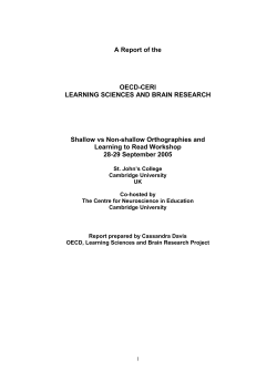 A Report of the  OECD-CERI LEARNING SCIENCES AND BRAIN RESEARCH