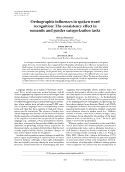 Orthographic influences in spoken word recognition: The consistency effect in