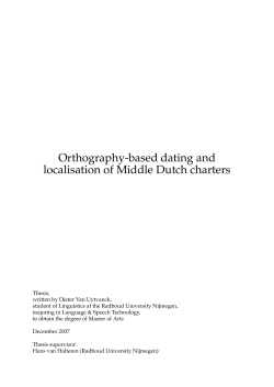 Orthography-based dating and localisation of Middle Dutch charters