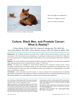 Culture, Black Men, and Prostate Cancer: What Is Reality?