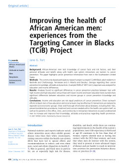 Improving the health of African American men: experiences from the