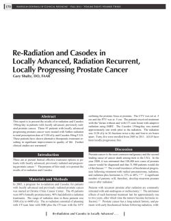 Re-Radiation and Casodex in Locally Advanced, Radiation Recurrent, Locally Progressing Prostate Cancer Abstract