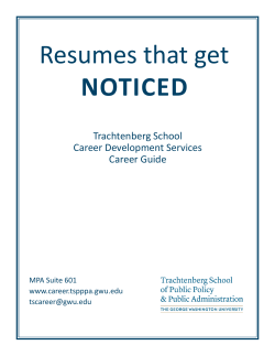 Resumes that get Noticed Trachtenberg School Career Development Services