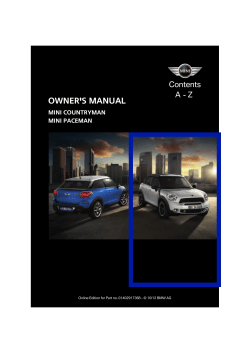 OWNER'S MANUAL Contents A - Z MINI COUNTRYMAN