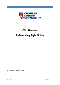 CDU Harvard Referencing Style Guide  (Updated August 2013)