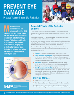 M PREVENT EYE DAMAGE Protect Yourself from UV Radiation
