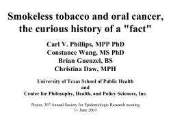 "Smokeless tobacco and oral cancer, the curious history of a ""fact"""