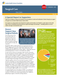 Highest Priority Needs Surgical Care A Special Report to Supporters Donor Update