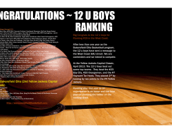 CONGRATULATIONS ~ 12 U BOYS RANKING