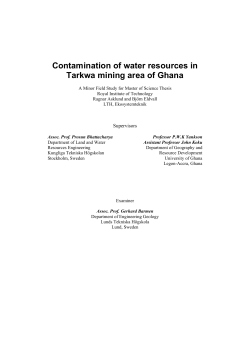 Contamination of water resources in Tarkwa mining area of Ghana