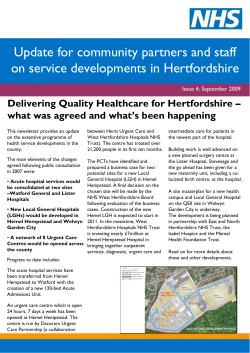 Update for community partners and staff on service developments in Hertfordshire