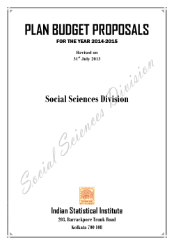 PLAN BUDGET PROPOSALS Social Sciences Division Indian Statistical Institute