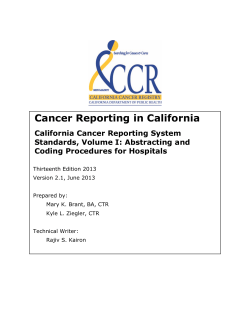 Cancer Reporting in California