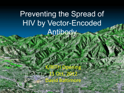 Preventing the Spread of HIV by Vector-Encoded  Antibody