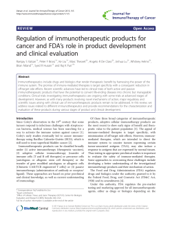 Regulation of immunotherapeutic products for 's role in product development