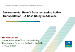 Environmental Benefit from Increasing Active – A Case Study in Adelaide Transportation