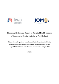Literature Review and Report on Potential Health Impacts