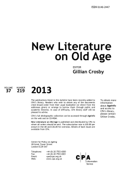 New Literature on Old Age 2013 37