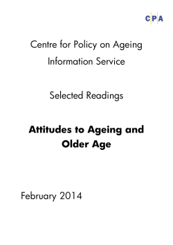 Centre for Policy on Ageing Information Service Selected Readings