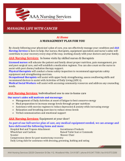 MANAGING LIFE WITH CANCER At Home  A MANAGEMENT PLAN FOR YOU