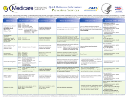 Medicare Preventive Services Quick Reference Information: PREVENTIVE