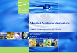 Advanced Accelerator Applications Luca Maciocco (R&D project manager, tech. coordinator) on behalf of