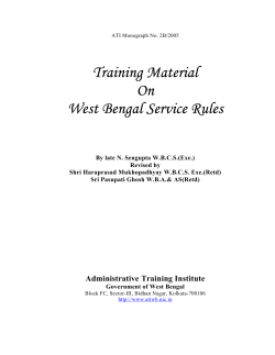 Training Material On West Bengal Service Rules
