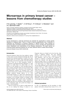 Microarrays in primary breast cancer – lessons from chemotherapy studies