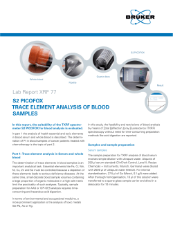 Lab Report XRF 77 S2 PICOFOX TRACE ELEMENT ANALYSIS OF BLOOD SAMPLES