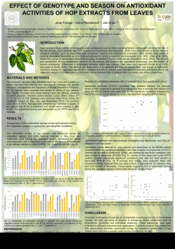 EFFECT OF GENOTYPE AND SEASON ON ANTIOXIDANT ACTIVITIES OF HOP EXTRACT S