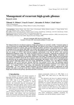 Management of recurrent high-grade gliomas !ihomir N. Eftimov , Ivan D. Ivanov
