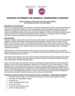 POSITION STATEMENT ON ANABOLIC, ANDROGENIC STEROIDS