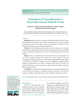 Evaluation of Trace Elements in Pancreatic Cancer Patients in Iran Original Article