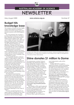 NEWSLETTER Budget hits knowledge base AUSTRALIAN ACADEMY OF SCIENCE