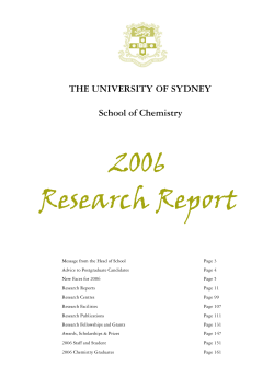 2006 Research Report THE UNIVERSITY OF SYDNEY School of Chemistry