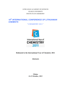 10 INTERNATIONAL CONFERENCE OF LITHUANIAN CHEMISTS CHEMISTRY 2011""