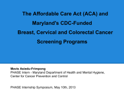 The Affordable Care Act (ACA) and Maryland's CDC-Funded
