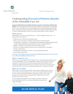 Understanding  of the Affordable Care Act Preventive/Wellness Benefits