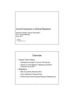 Overview Current Concerns in Clinical Research • Clinical Trial Funding