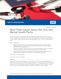 New FAQs Issued About the ACA and Mental Health Parity