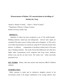 Measurements of Radon- 222 concentrations in dwellings of  kirkuk city, Iraq.