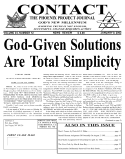 Are Total Simplicity God-Given Solutions CONTACT THE PHOENIX PROJECT JOURNAL