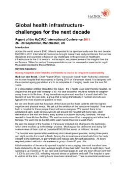 Global health infrastructure- challenges for the next decade
