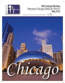 Sheraton Chicago Hotel & Towers 2012 Annual Meeting May 9-12