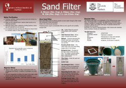 Sand Filter A. Blower (Mec. Eng); A. Elkjaer (Mec. Eng); Water Purification