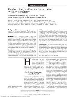 Oophorectomy vs Ovarian Conservation With Hysterectomy Cardiovascular Disease, Hip Fracture, and Cancer