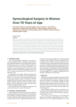gynecological Surgery in women Over 70 Years of Age