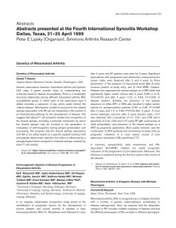 Abstracts presented at the Fourth International Synovitis Workshop Abstracts